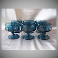 Indiana Glass BLue Nouveau Sherbets