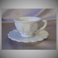 Westmoreland Glass Paneled Grape Cup and Saucer