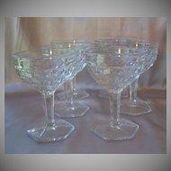 Six Fostoria Glass American Tall  Sherbets