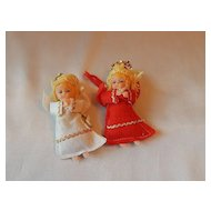 Two Christmas Tree Angel Ornaments