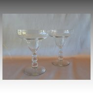 Two Crystal Ball Stem Margarita Glasses