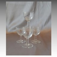 Four Tiny Crystal Liquor Glasses Goblets
