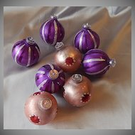 Eight Christmas Glass Balls West Germany
