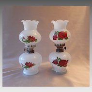 Pair of Miniature Oil Lamps  with Roses
