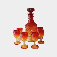 Amberina Yesteryear Decanter Goblets Set by Viking Glass