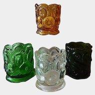 Four Glass Toothpick Holders  Moon & Stars / Scroll Design