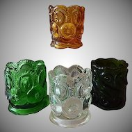 Four Glass Toothpick Holders  Moon & Stars / Scroll Design