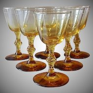 Set of Six Golden Wine Goblets