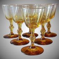 Set of Six Golden Wine Goblets