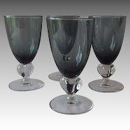 Swedish Crystal Gulli Smoke Claret Wine Goblets