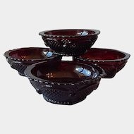 Four Avon 1876 Cape Cod Ruby Bowls