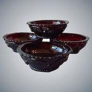 Four Avon 1876 Cape Cod Ruby Bowls