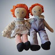 Two Early Handmade  Rag / Cloth Dolls