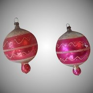 Two Glass Christmas Tree Ornaments