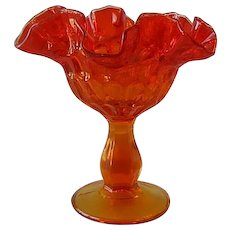 Fenton Art Glass Amberina Thumbprint Compote