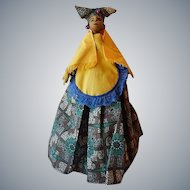 Handmade Black Cloth Doll 1980's