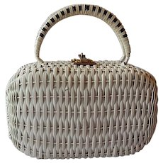 Sarne White Woven Plastic Wicker Handbag