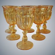 Six Imperial Glass Old Williamsburg Yellow Goblets