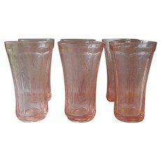 Six Indiana Glass Pink Madrid Recollection Tumblers