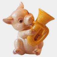 W. Germany Goebel Pig Playing A Tuba Figurine