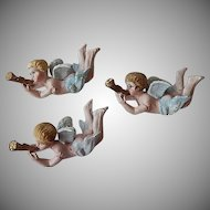 Three Vintage Christmas Cherub Ornaments
