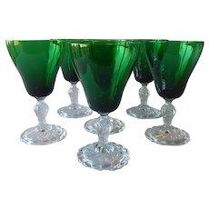 6 Fostoria Colonial Dame Emerald Green Goblets