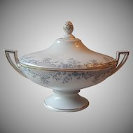 Porcelain Footed Covered Vegetable Serving Dish