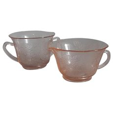 MacBeth-Evans  Pink Thin Dogwood Creamer and Sugar