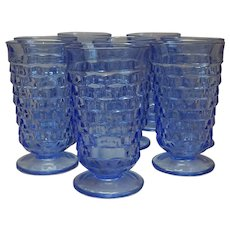 Eight Indiana Glass Blue Tumblers
