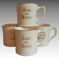 Four Homer Laughlin Tom and Jerry Punch Mugs
