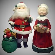 Paper Mache Santa Claus and Mrs Claus Figures