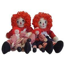 Four Handmade Raggedy Ann and Andy Dolls