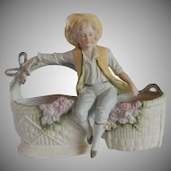 Bisque Boy Figure Planter Japan