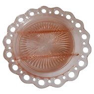 Pink Lace Edge Relish Plate