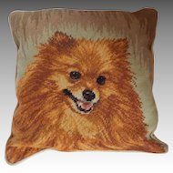 Needlepoint Pomeranian Dog Pillow