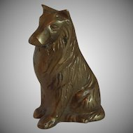 Brass Sitting Dog Figurine Collie