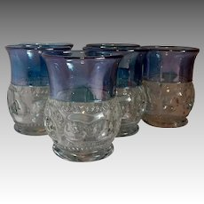 Six King's Crown Tiffin Blue Flash Tumblers