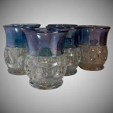 Six King's Crown Tiffin Blue Flash Tumblers