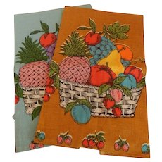 Two Parisian Prints Kitchen Towel with Fruit Baskets