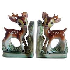 Set Of Fawn Deer Ceramic Bookends
