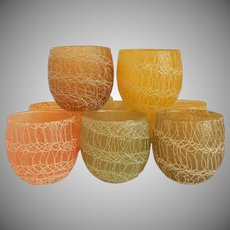 Ten Spaghetti String Roly Poly Shat-R-Pruf Coctail Glasses By Color Craft