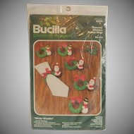 Bucilla Christmas Heirloom Jeweled Napkin Rings Kit   Santa and Snowman