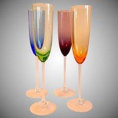 Four Lenox Color Gems Champagne Flutes