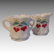 Westmoreland Milk Glass Cherry Sugar and Creamer