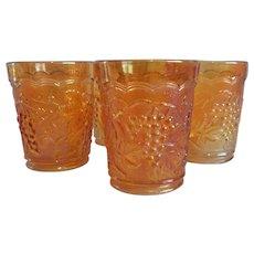 Four Imperial Glass Carnival  Marigold Grape Tumblers