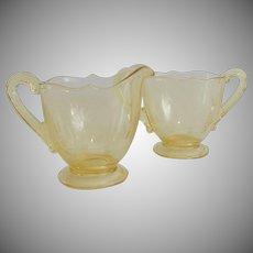Yellow Lancaster Glass Jubilee Creamer and Sugar Set