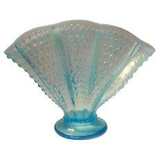 Fenton Art Glass Blue Opalescent Fan  Vase