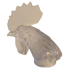 Lalique Rooster Head Crystal Hood Ornament
