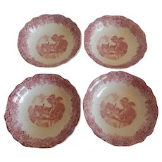 Four J & G Meakin Romantic England Red Berry Bowls