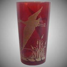 Hazel Atlas Rudy Red Flying Geese Tumbler